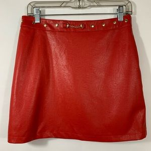 Forever 21 Faux Leather Red Skirt Size 29